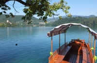 Boot am See in Bled in Slowenien