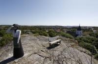 Eine etwas hölzerne Schwedin am Aussichtspunkt