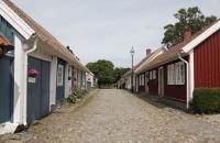 Gasse mit alten Häusern in Falkenberg