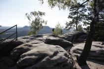 Blick vom Klettersteig auf die Landschaft der Sächsischen Schweiz
