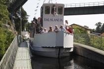 Das Schiff bei der Fahrt über das Aquädukt