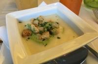 Spargelcremesuppe mit Bärlauch Croitons