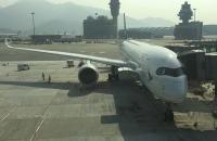 Mit diesem funkelnagelneuen A350 ging es nach Auckland