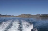 Spur des Bootes im Wasser