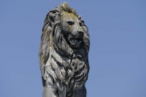 Grimmiger Löwe im Lindauer Hafen