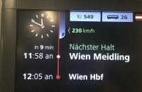 Mit Tempo 230 im Railjet Richtung Wien
