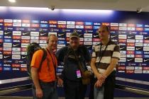 Jürgen, Roland und ich im Interviewraum