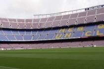 Blick auf das Spielfeld des Camp Nou