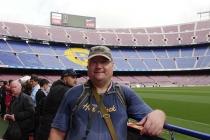 Ich am Spielfeldrand des Camp Nou