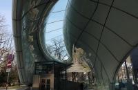 Futuristische Talstation der Hungerburgbahn
