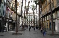 Fußgängerzone mit Palmen in Malaga