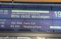 Zugzielanzeige für den TGV nach Straßburg in Frankfurt Hbf.