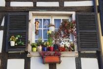 Bunt geschmücktes Fenster eines alten Hauses im Viertel La Petite France