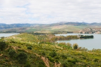 Blick auf die Landschaft bei den Stauseen