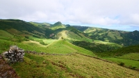 Karge, grüne Landschaft in der Hochebene