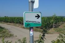 Wegweiser der Radroute Weinviertel DAC