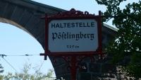 Historisches Stationsschild der Pöstlingberg Bahn an der Endstation